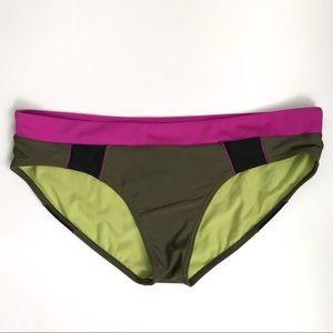 {Prana} Cargo green & Orchid ZURI swim bottom, XL